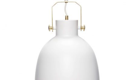 HÜBSCH loftlampe i hvid og guld metal