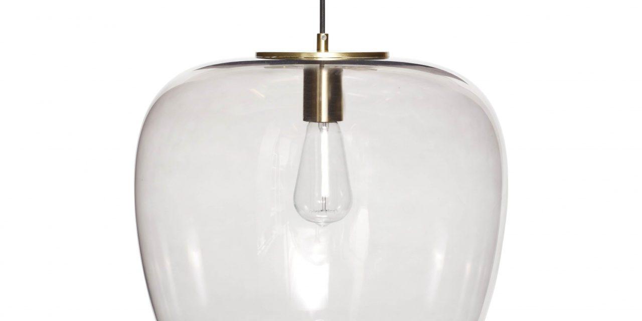 HÜBSCH loftlampe i røget glas og messing