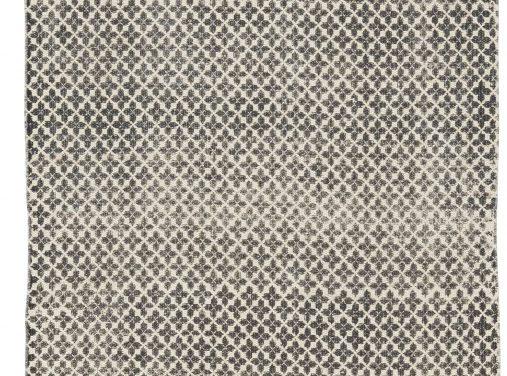 Gulvløber i off white bomuld med sort tryk