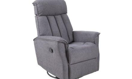 Jordan recliner grå m/ justérbar nakkestøtte og drejefod