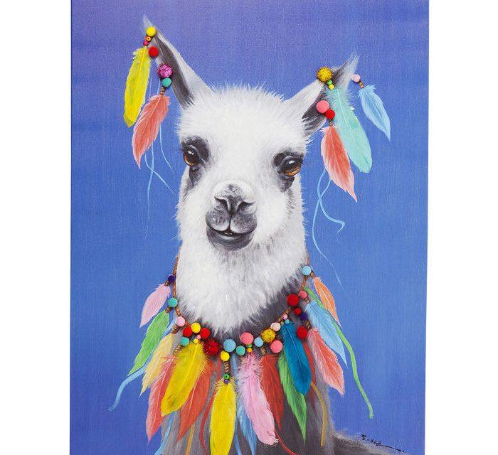 KARE DESIGN Billede Touched Lama Pom Pom 100 x 70 cm