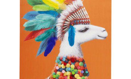 KARE DESIGN Billede Touched Lama Chief 100 x 70 cm