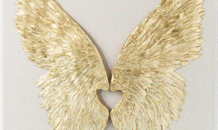 KARE DESIGN Vægdekoration, Wings Guld 120 x 120 cm