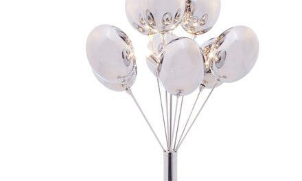 Pæn Silver Balloons bordlampe i stål og glas fra det kendte brand Kare Design