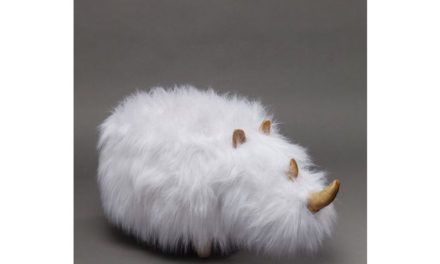 KARE DESIGN Taburet, Rhino Fur Hvid