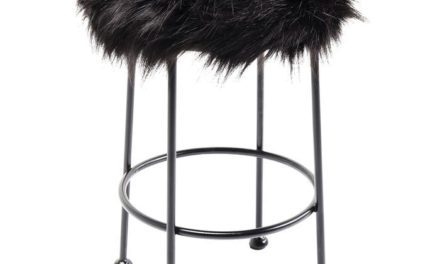 KARE DESIGN Taburet, Ontario Fur Sort Ø30 cm