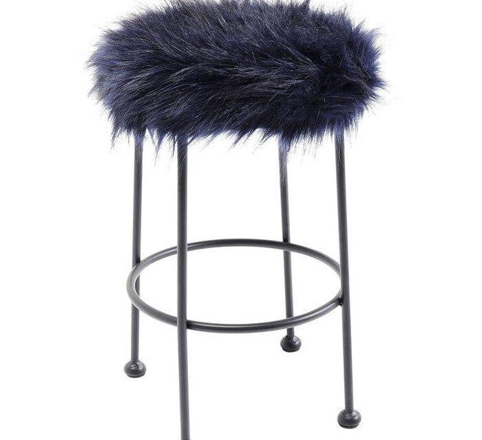 KARE DESIGN Taburet, Ontario Fur Mørk Blå Ø30 cm