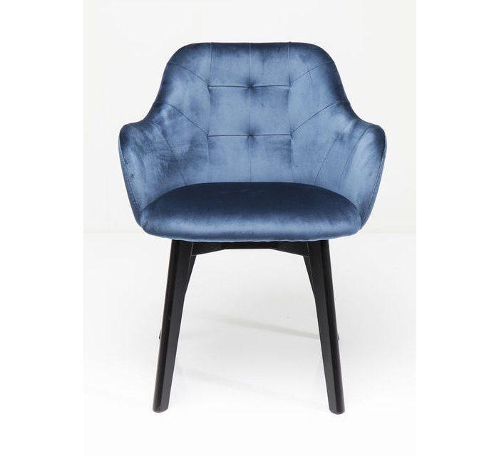 KARE DESIGN Stol med armlæn Lady Velvet Stitch Royal – Petroleumsblå