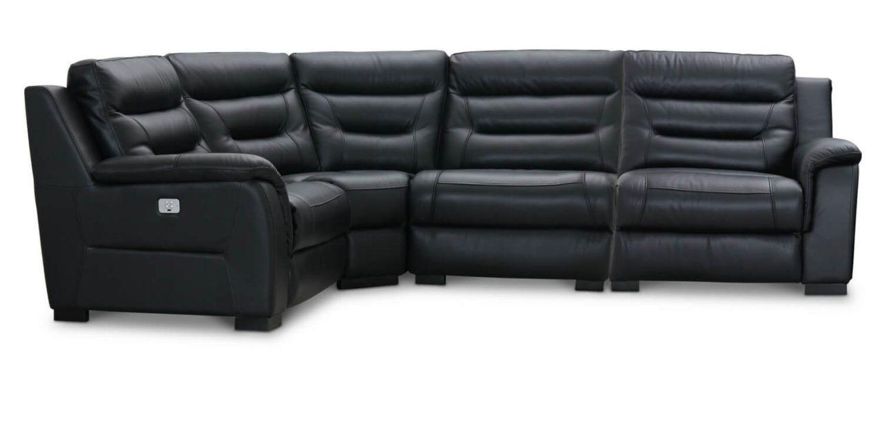 HAGA King Biograf hjørnesofa med el recliner, sort læder