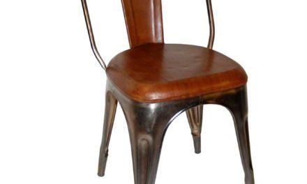 TRADEMARK LIVING Spisebordsstol – læder og shiny stel