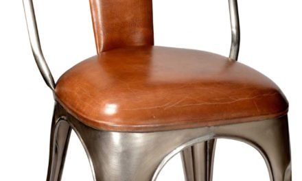 TRADEMARK LIVING Stol – polstret, læder og shiny stel