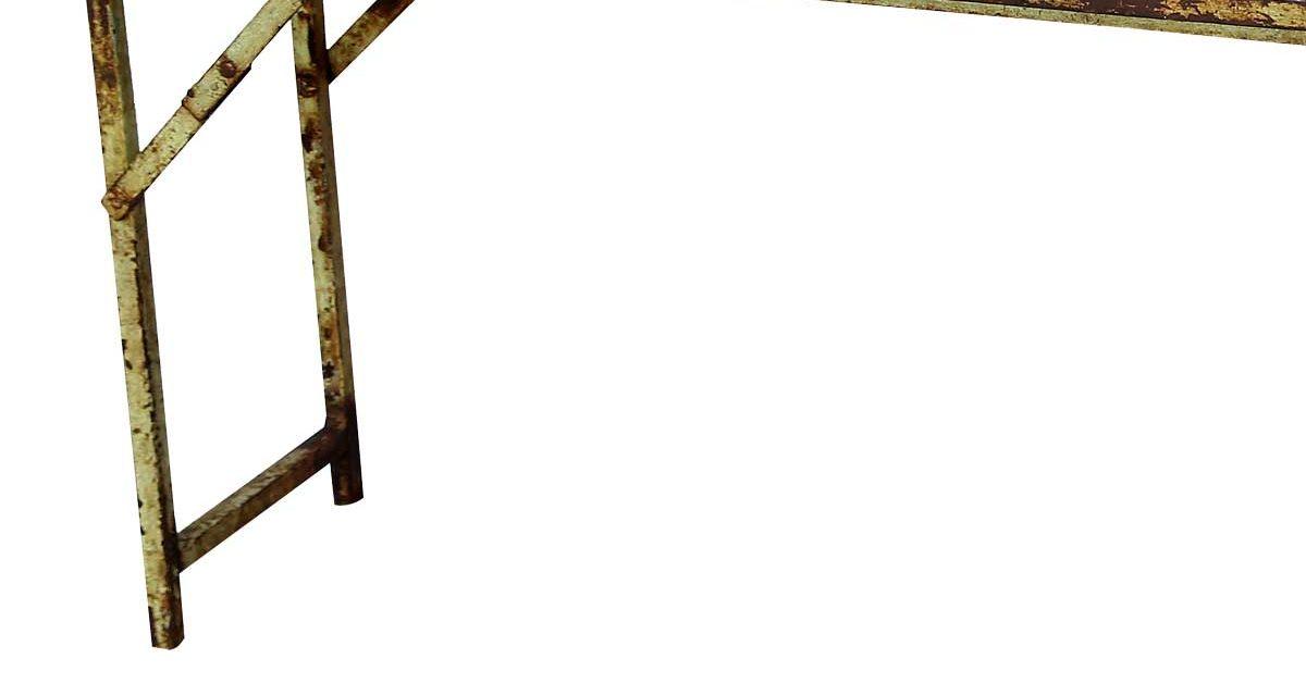 TRADEMARK LIVING Gammel og rå konsolbord med galvaniseret top