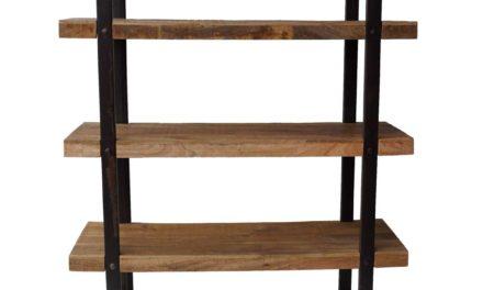 TRADEMARK LIVING Bred høj reol med jernstel og træhylder
