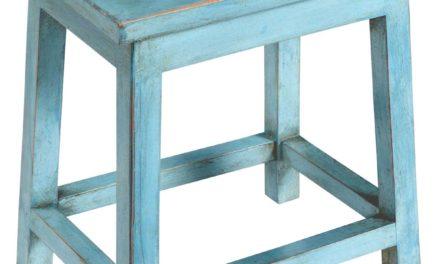 TRADEMARK LIVING Fin blå træskammel
