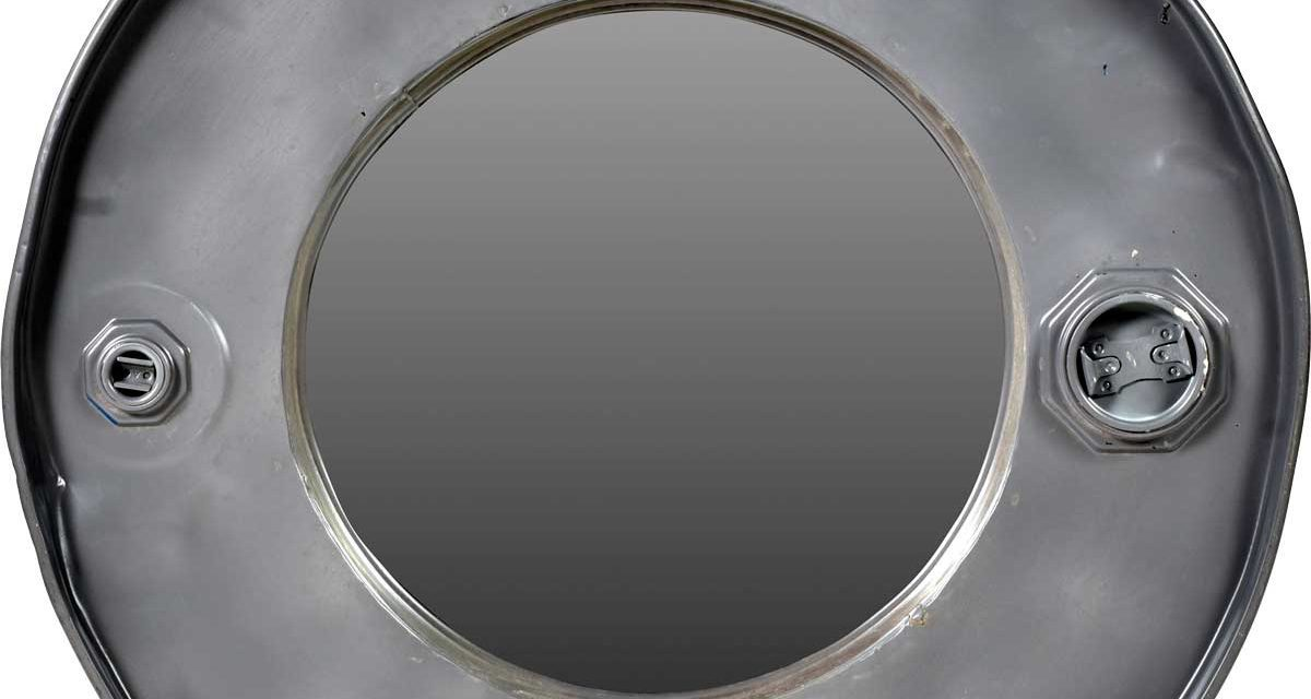 TRADEMARK LIVING Cool rundt spejl i bred jernramme