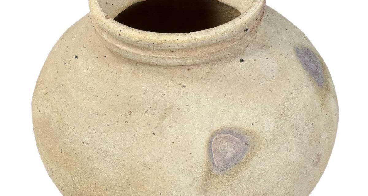 Trademark Living lerkrukke med jernring i flot ler
