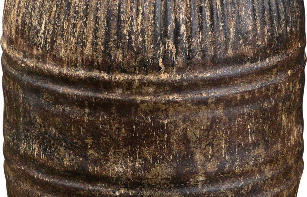 TRADEMARK LIVING Stor gammel jerntønde med låg – jern og mørk cream