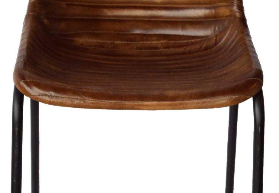 TRADEMARK LIVING Spisebordsstol – brunt læder