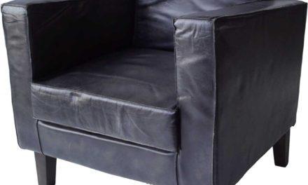 TRADEMARK LIVING Læder lænestol i koksgrå med patina