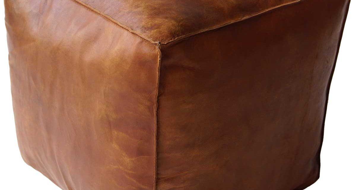 TRADEMARK LIVING Cool kvadratisk læderpuf i brun
