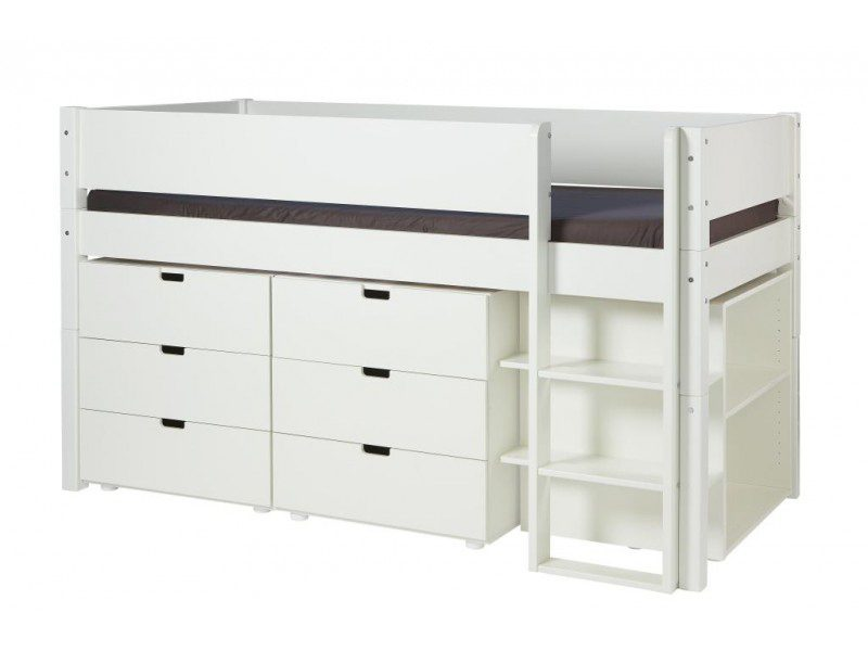 MANIS-H Arn halvhøj seng – hvid m. opbevaring (200×90)