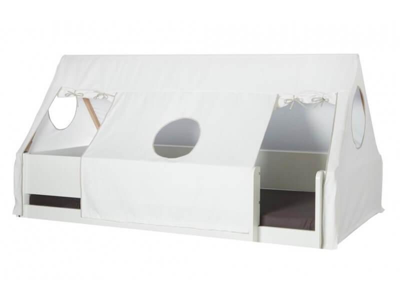 MANIS-H Husseng – hvid m. sengekant, sengehest & sengehimmel (200×90)