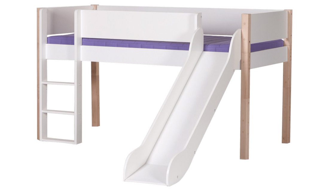 MANIS-H Loke halvhøj seng m. rutsjebane, hvid (200×90) Sort-Bøg
