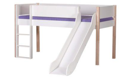 MANIS-H Loke halvhøj seng m. rutsjebane, hvid (200×90) Hvid-Bøg
