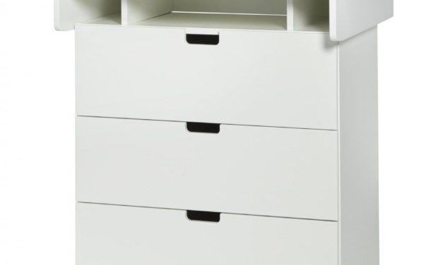 MANIS-H Puslekommode – hvid/bøg m. 3 skuffer