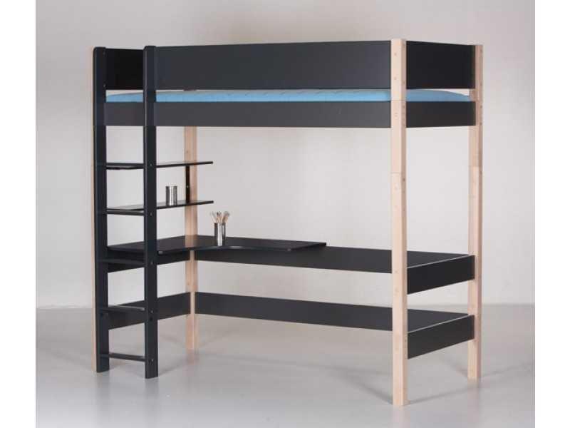 MANIS-H Balder højseng med skrivebord (200×90) Sort-Bøg