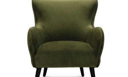 Manchester retro lænestol, grøn fløjl stof
