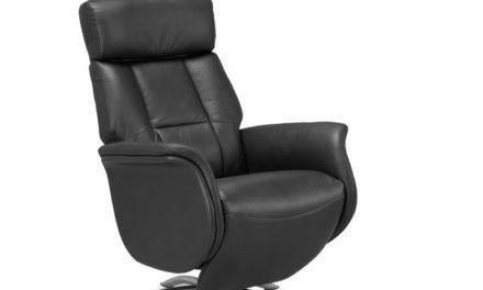 Firenze 2 lænestol – sort PVC læder, m. indbygget skammel