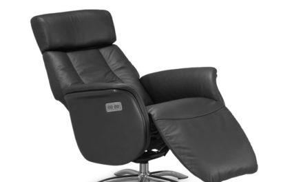 Firenze 3 lænestol – sort kunstlæder, m. indbygget motorbetjent skammel