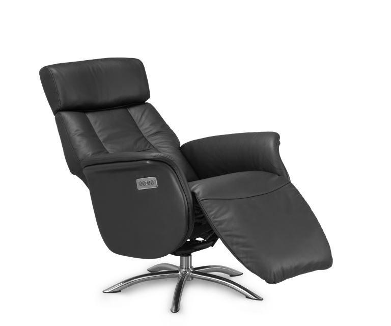 Firenze 4 lænestol – sort kunstlæder, m. indbygget motorbetjent skammel (2 motorer)