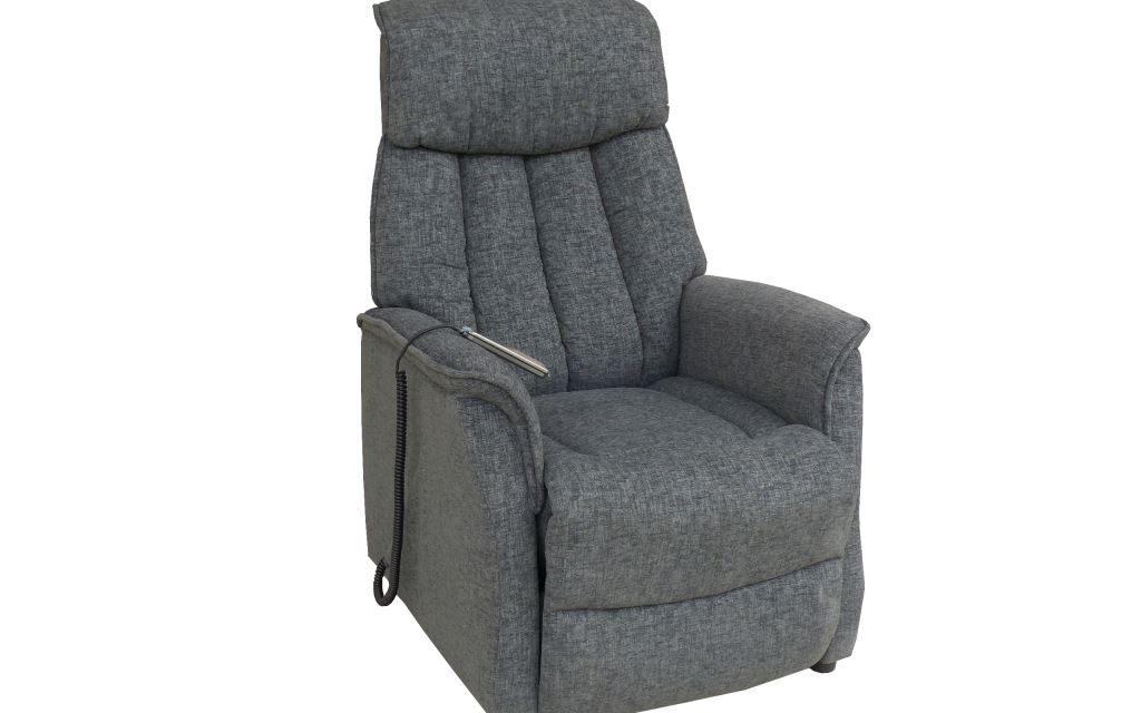 Bonn reclinerstol – grå stof, m. hjul, elfunktion og løft (2 motorer)