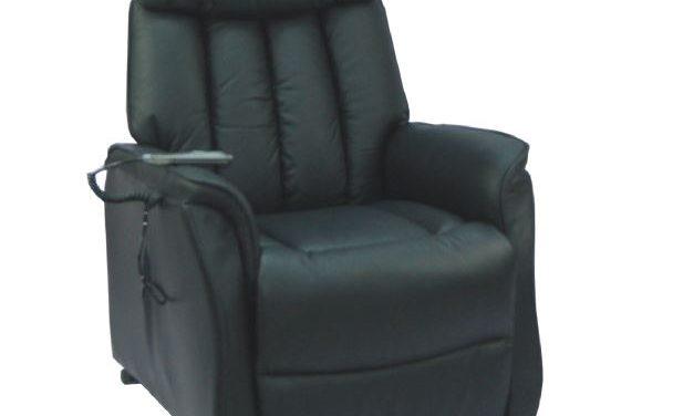 Bonn reclinerstol – sort kunstlæder, m. hjul, elfunktion og løft (2 motorer)