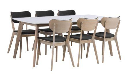 Olivia spisebord – hvid/hvidvasket eg m. udtræk (150×90)