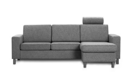 Pisa 3 pers. sofa – antracitgrå stof, m. vendbar chaiselong