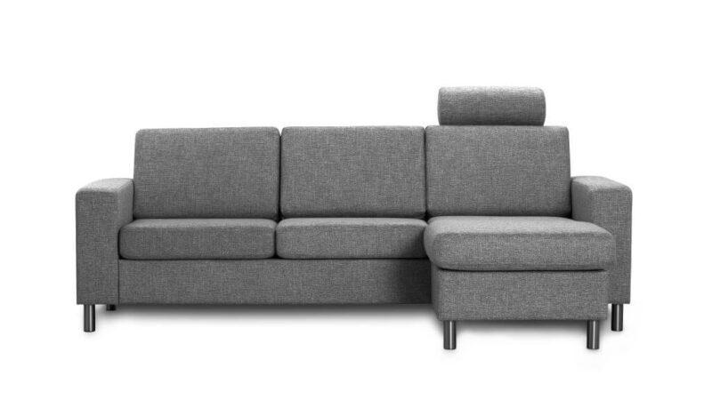 Pisa 3 pers. sofa – antracitgrå stof, m. vendbar chaiselong
