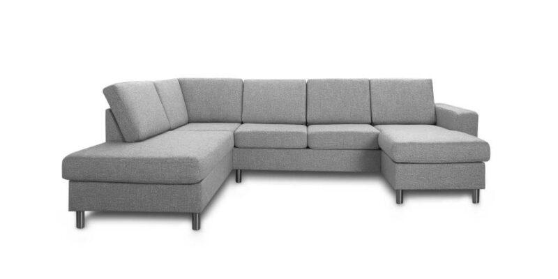 Pisa venstrevendt U-sofa – lys granitgrå stof