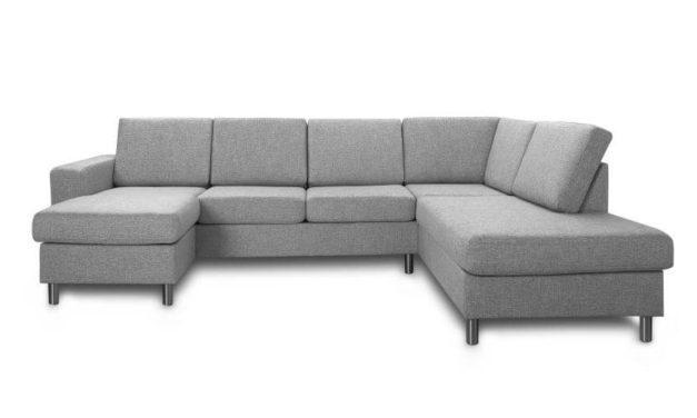 Pisa højrevendt U-sofa – lys granitgrå stof