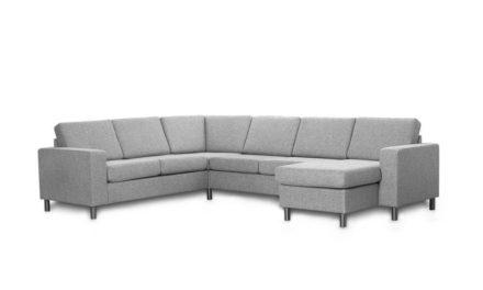 Pisa U-sofa – lys granitgrå stof, m. vendbar chaiselong