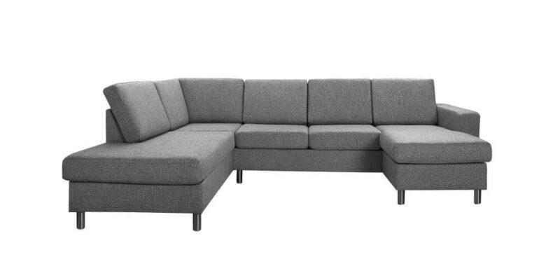 Pisa venstrevendt U-sofa – antracitgrå stof