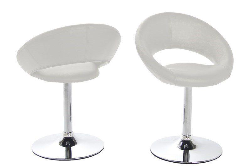Plump spisebordsstol – hvidt kunstlæder/metal drejefod