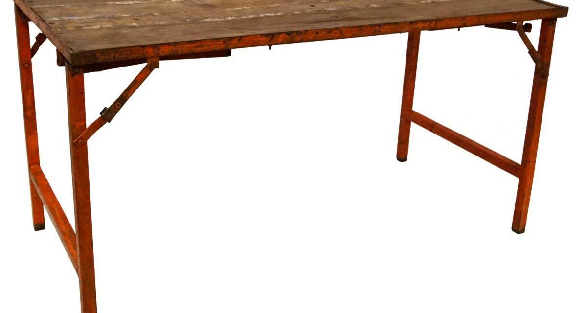 TRADEMARK LIVING Rustikt gammelt bord med multifunktion – orange