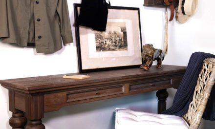 """NOVASOLO """"Hygge"""" konsolbord i teaktræ med 2 skuffer (140×40)"""