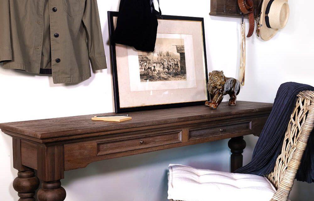 """NOVASOLO """"Hygge"""" konsolbord i teaktræ med 2 skuffer (160×40)"""