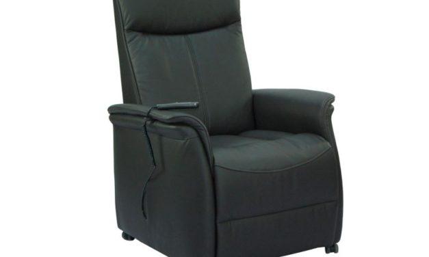 Sylt reclinerstol – sort kunstlæder, m. hjul, elfunktion og løft (1 motor)