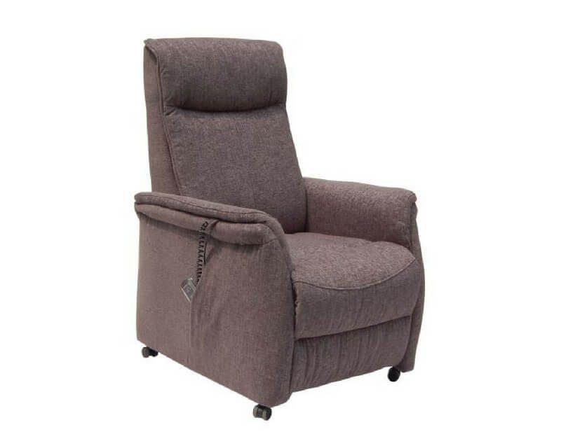 Sylt reclinerstol – grå stof, m. hjul, elfunktion og løft (1 motor)