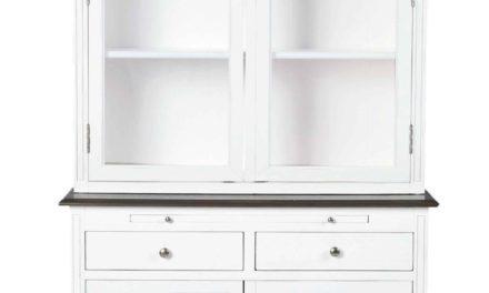 Viktoria vitrineskab – Hvidt træ, 4 låger/2 skuffer